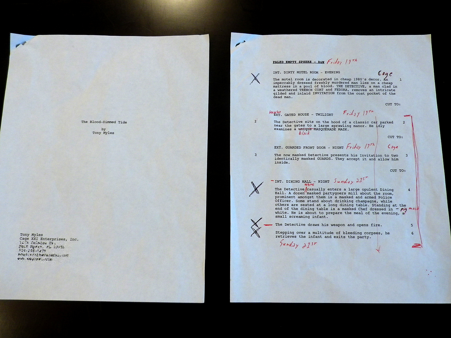 The original shooting script.
