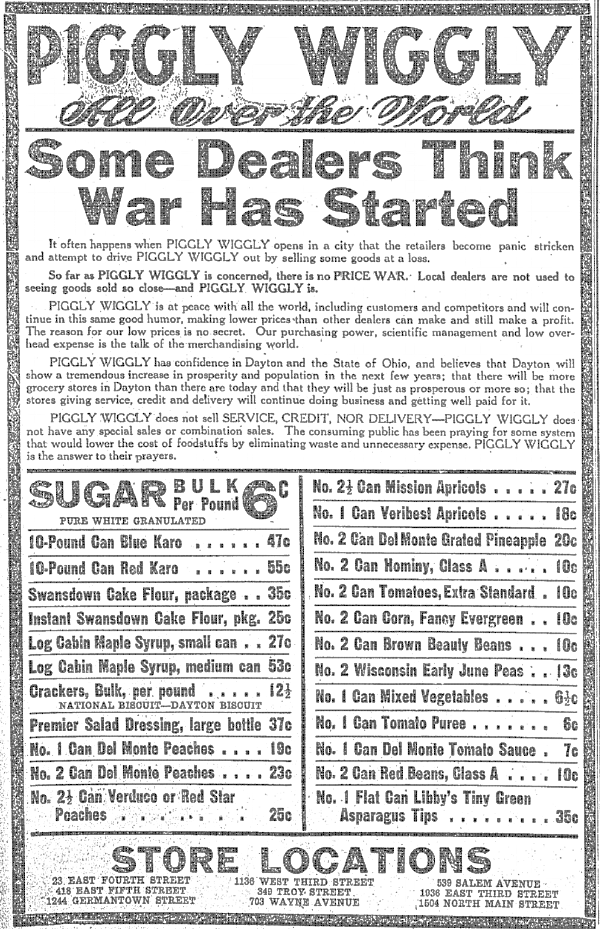 Newspaper ad from September 1921