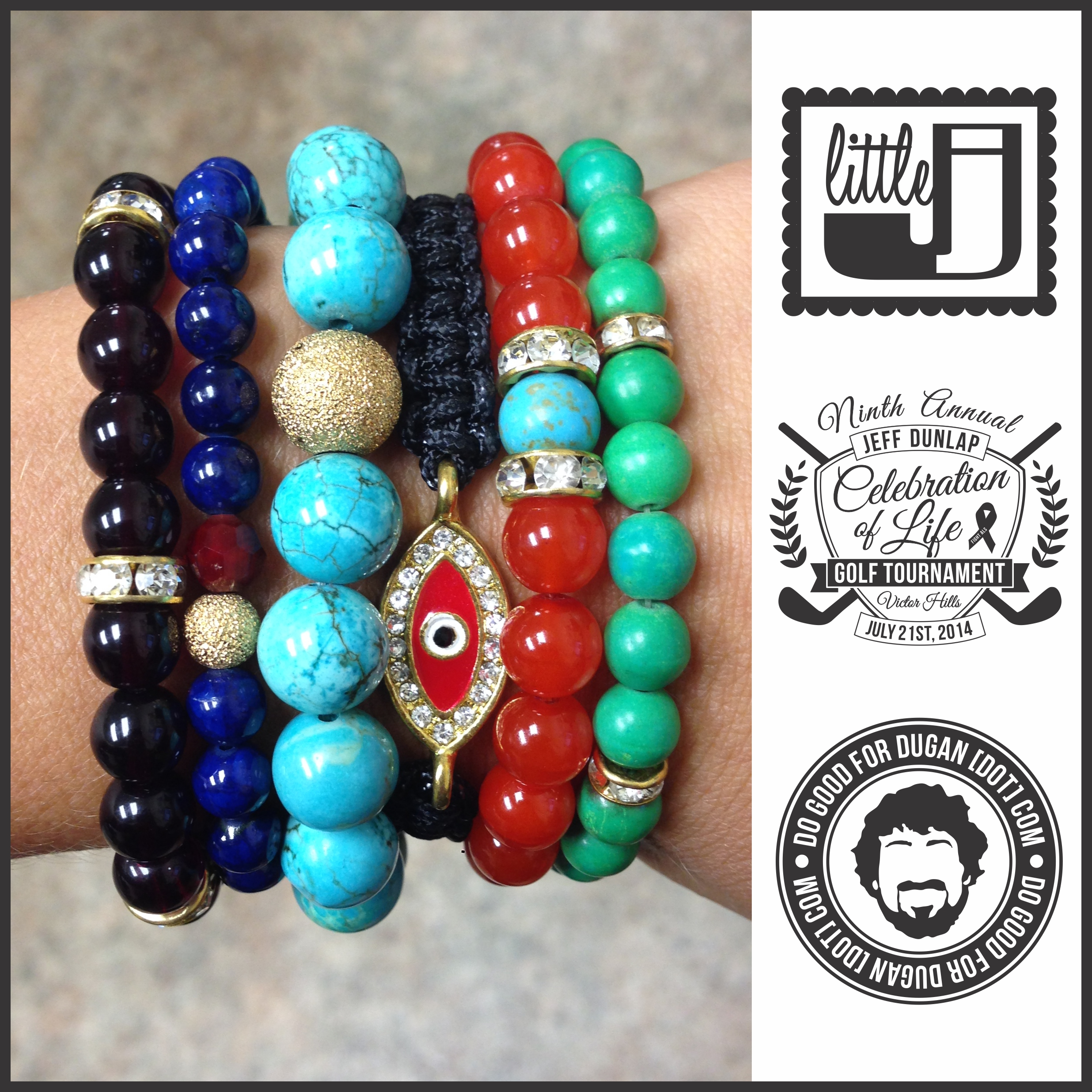 This    littlej  project  bracelet stack is ready to be auctioned at the 9th Annual Jeff Dunlap Celebration of Life Golf Tournament this Monday, July 21st! Amp up your arm party and help  Mike Dugan .  ✓✓