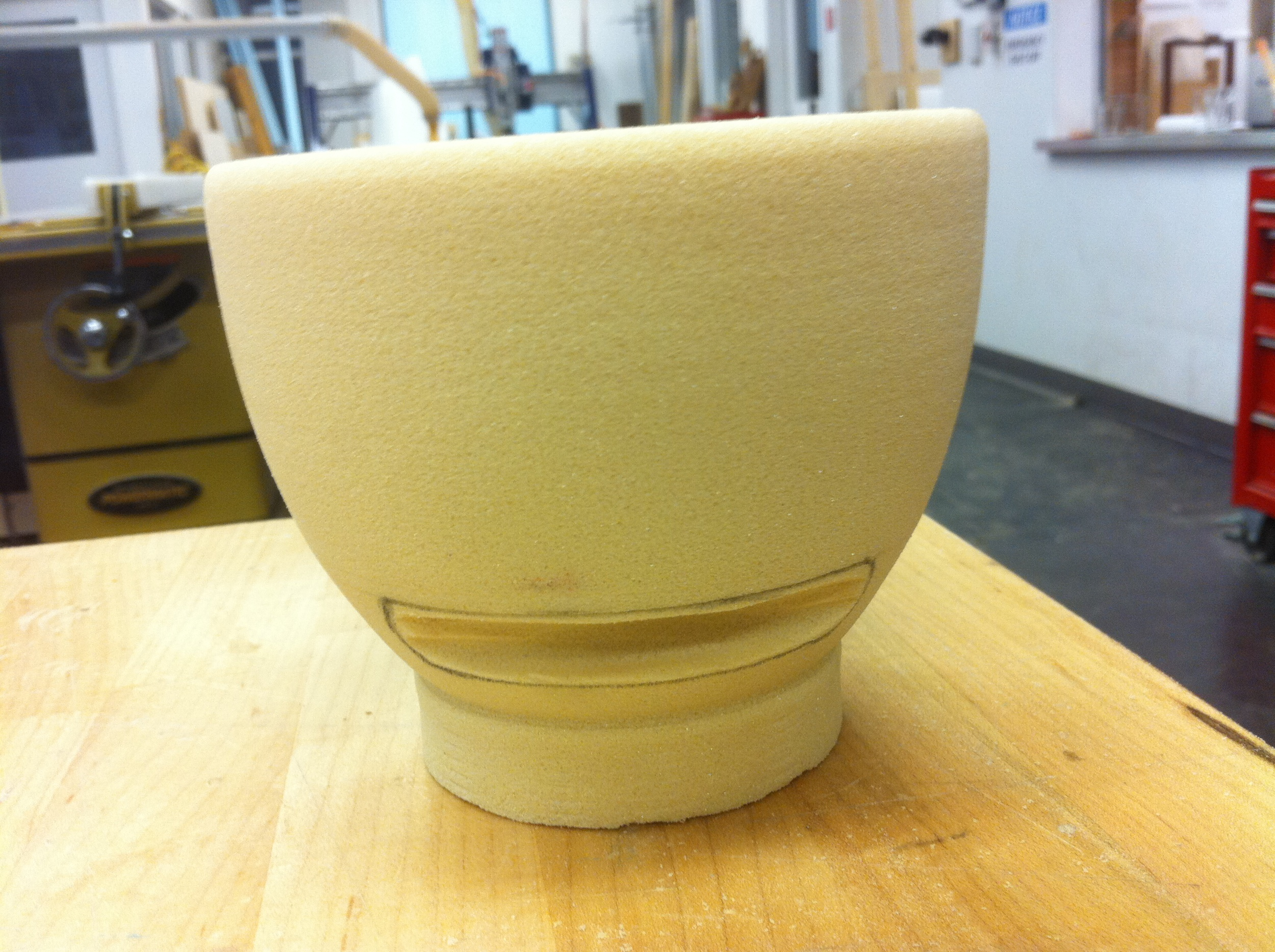 I lathed and carved the bowl form from a high density polyurethane foam.
