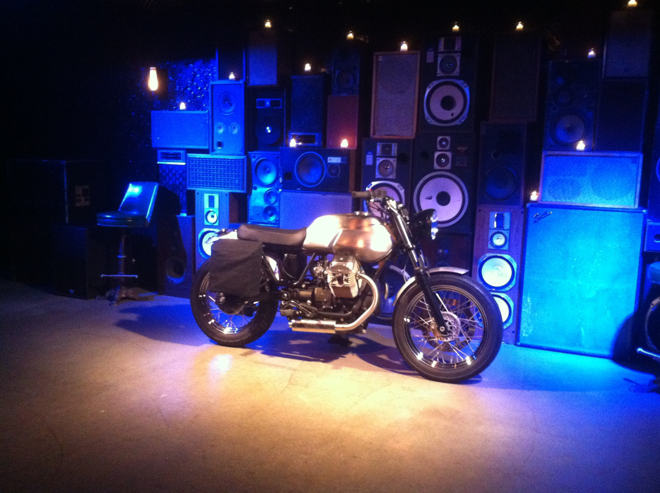 "The V7 Wayward displayed at the ""Wayward Bound"" release party hosted by Moto Guzzi at Ace Hotel in NYC."