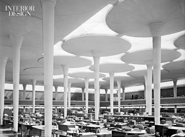 Inspiration for the structure came from Frank Lloyd Wright's revolutionary office space design. Photo from interiordesign.net