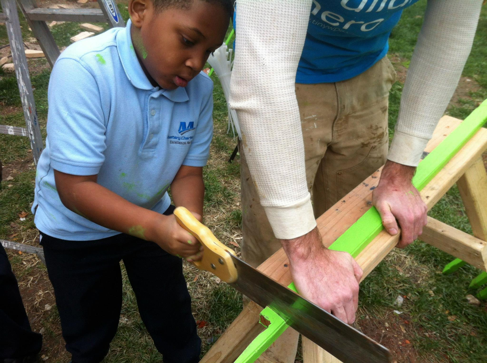 No one is too young to use a saw - with the right supervision of course.