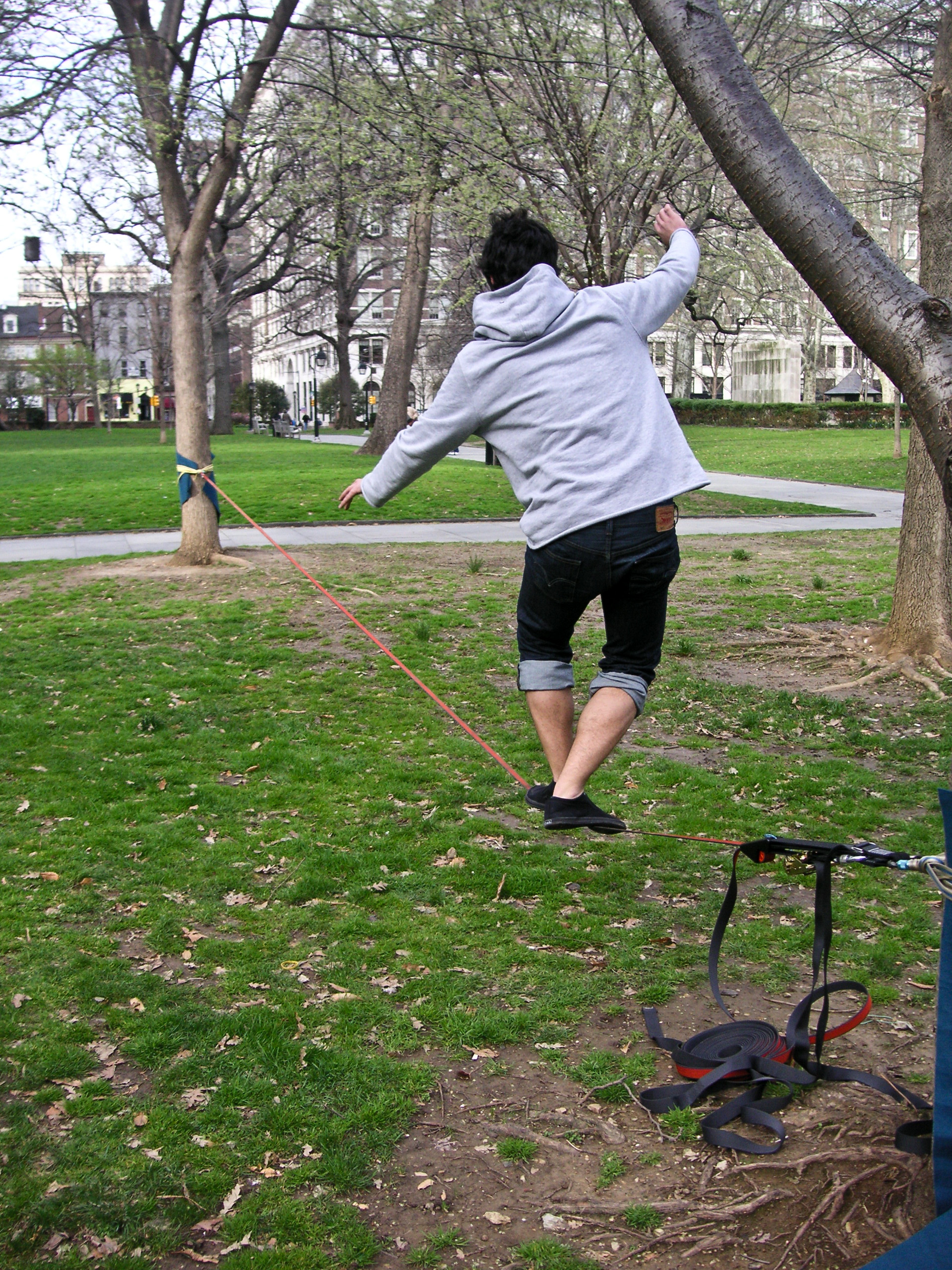 The initial movement inspiration, slacklining.