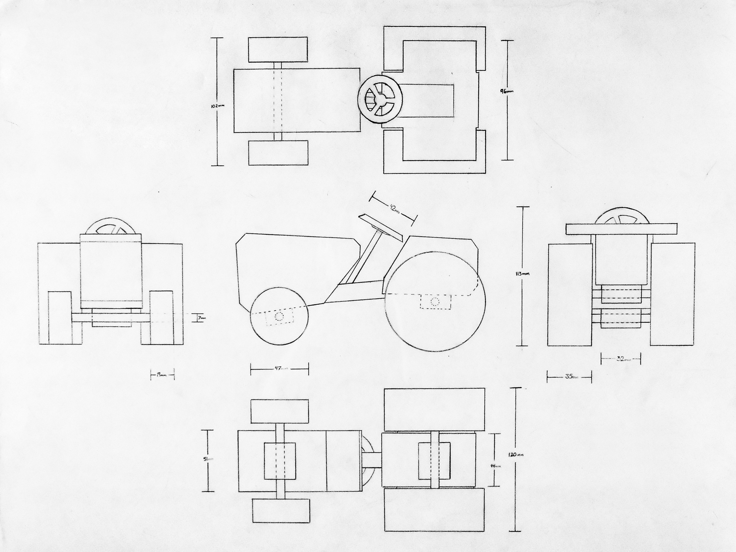 """An orthographic illustration of a stylized model tractor. 18"""" x 24"""""""