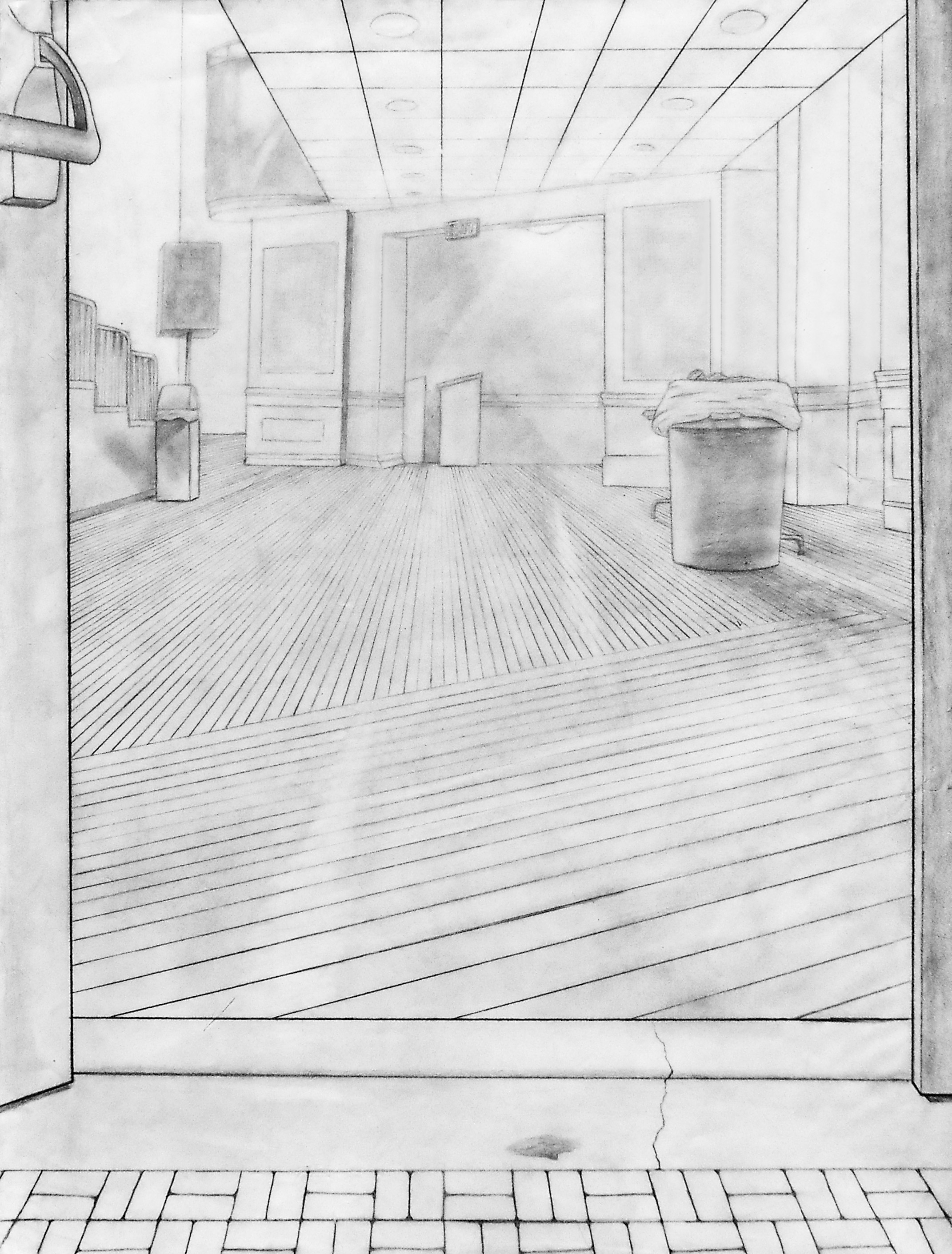 """A perspective drawing looking into an auditorium. 18"""" x 24"""""""