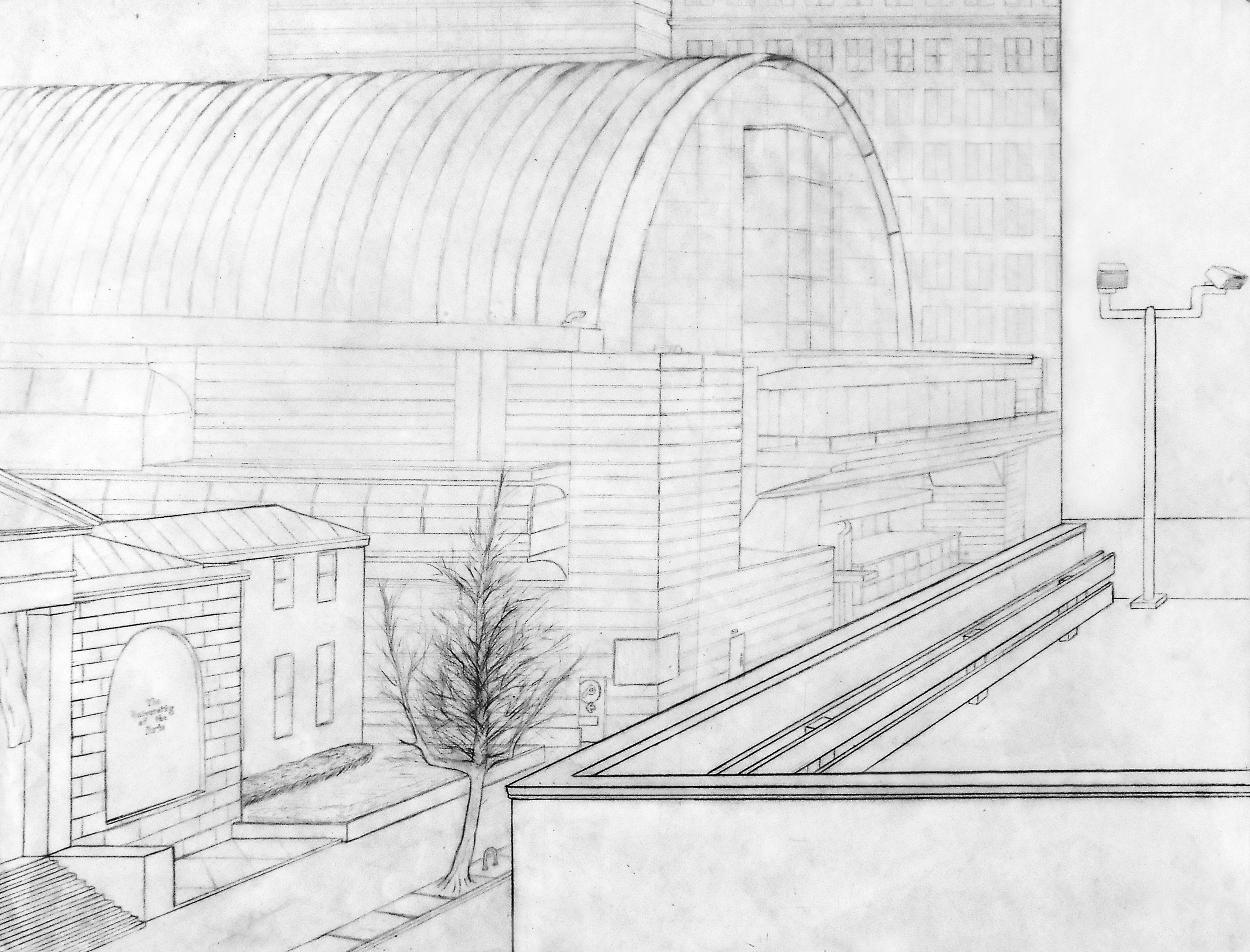"""A perspective drawing looking over a parking garage onto the Avenue of the Arts in Philadelphia, PA. 18"""" x 24"""""""
