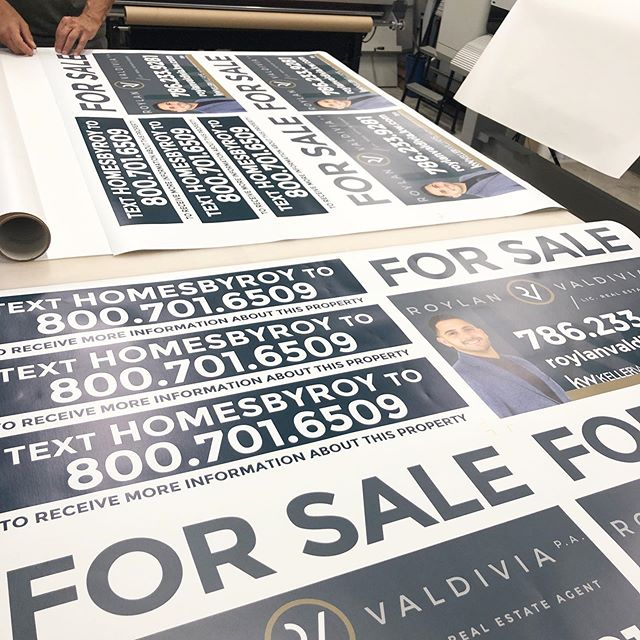 Getting @royrealtor his new for sale signs! . . . #realtor #floridarealtor #miamirealestate #realestate #kellerwilliams #creativedesign #graphicdesign #forsale #propertyforsale #riders #pvc #creativeprinting #printshop #businessowner #girlboss #smallbusiness #salesagent