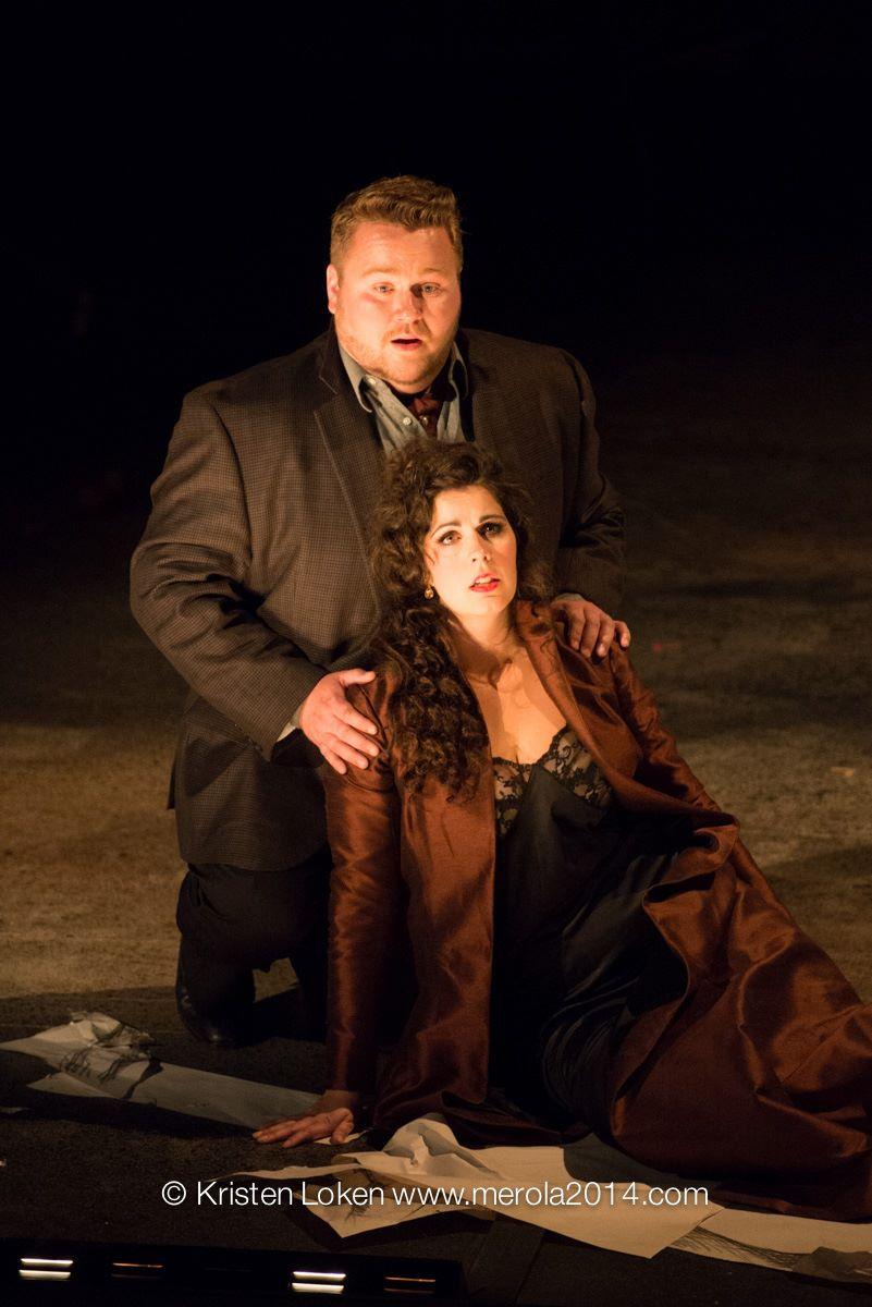 Amanda Woodbury (Donna Anna) and Benjamin Werley (Don Ottavio) in Merola Opera Program's 2014 production of Don Giovanni. — Photography by Kristen Loken