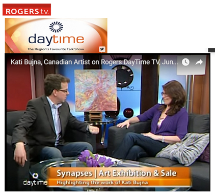 Interview on Rogers Daytime TV with Kati Bujna, celebrating the colours of spirit and accessible fine art in Canada.