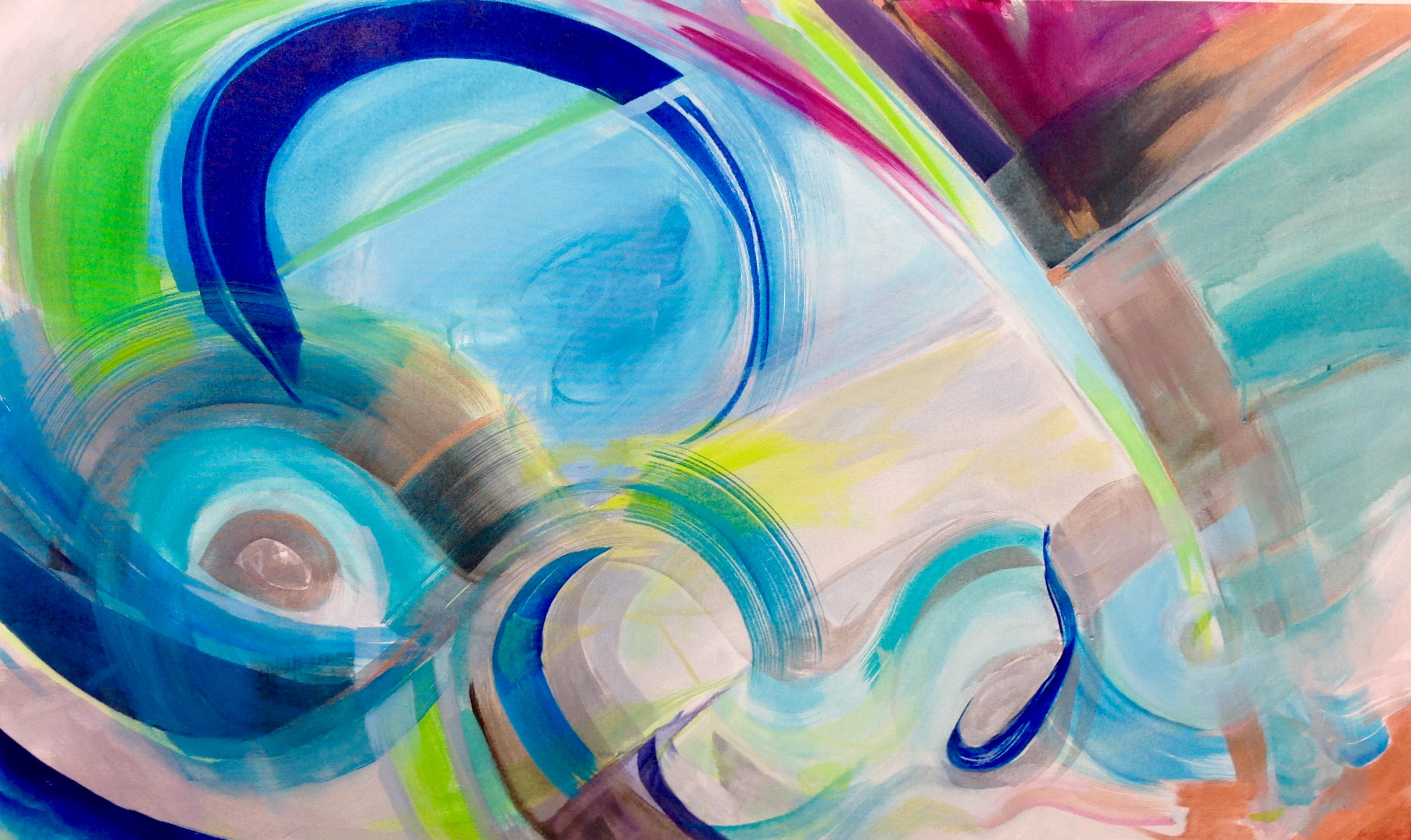 """Water's Light"", 2017 copyright, Kati Bujna, 30"" x 50"" x 2"", Acrylic, Graphite on canvas."