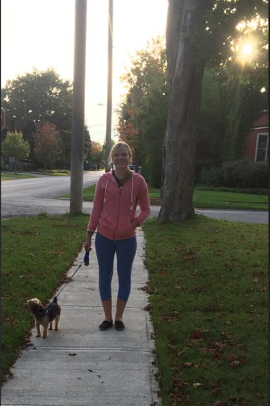 Natalia walks with her buddy Arnold in Stouffville