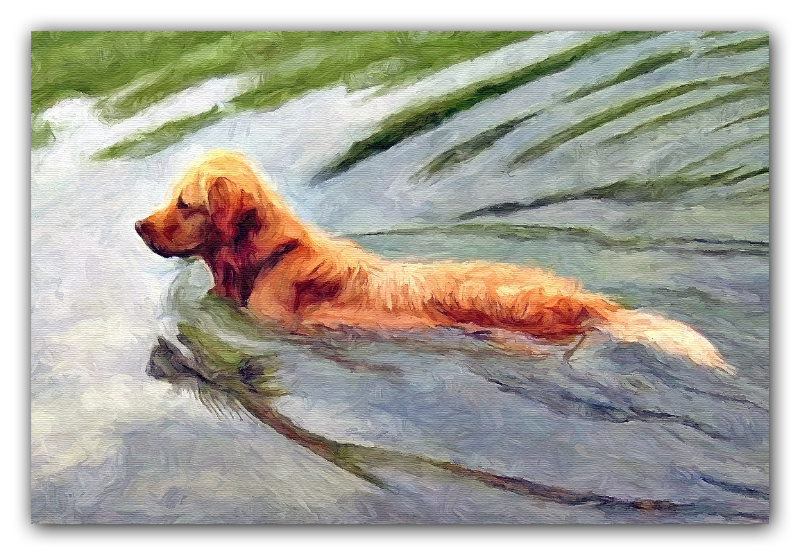 DETAIL GOLDEN RETRIEVER GUN DOG PAINTING