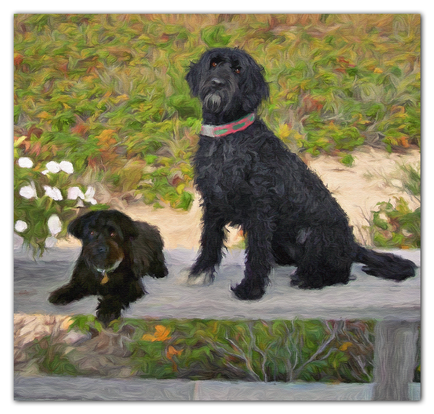 beach dogs oil painting