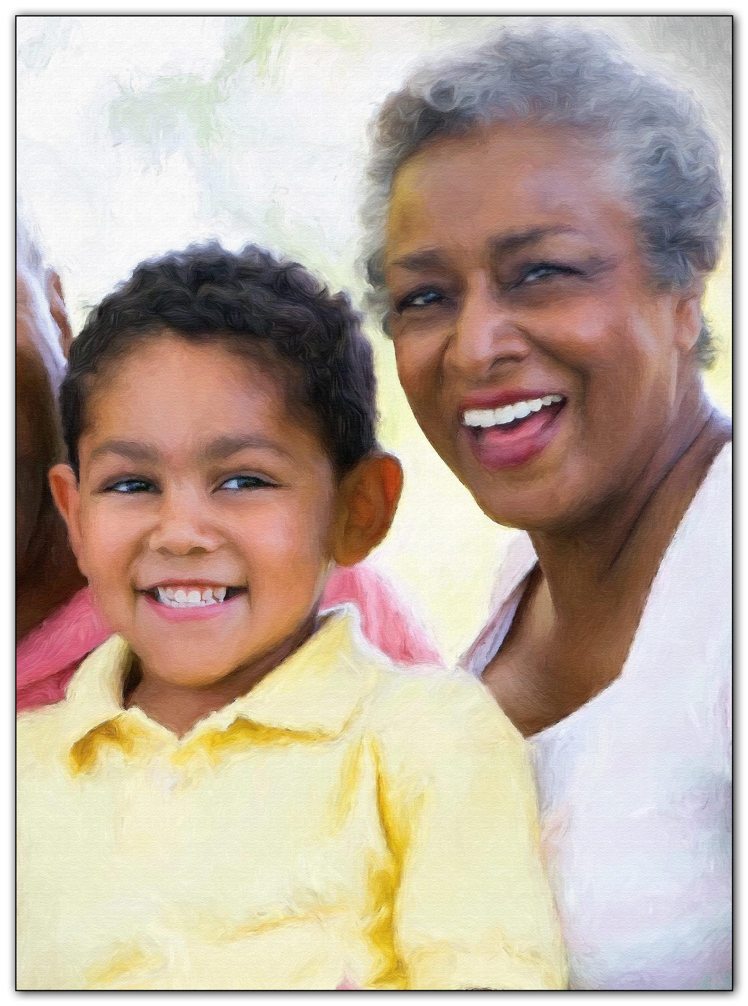 Grandmother & Grandson Digital Oil Portrait Painting