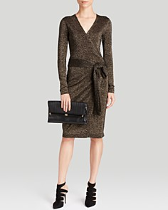 Diane von Furstenberg Dress & Clutch. Outfit from Bloomingdales.