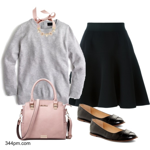 A knee length skirt with a fine gauge sweater is perfect for an interview. Let your personality shine by adding a slightly embellished necklace and matching tote bag.