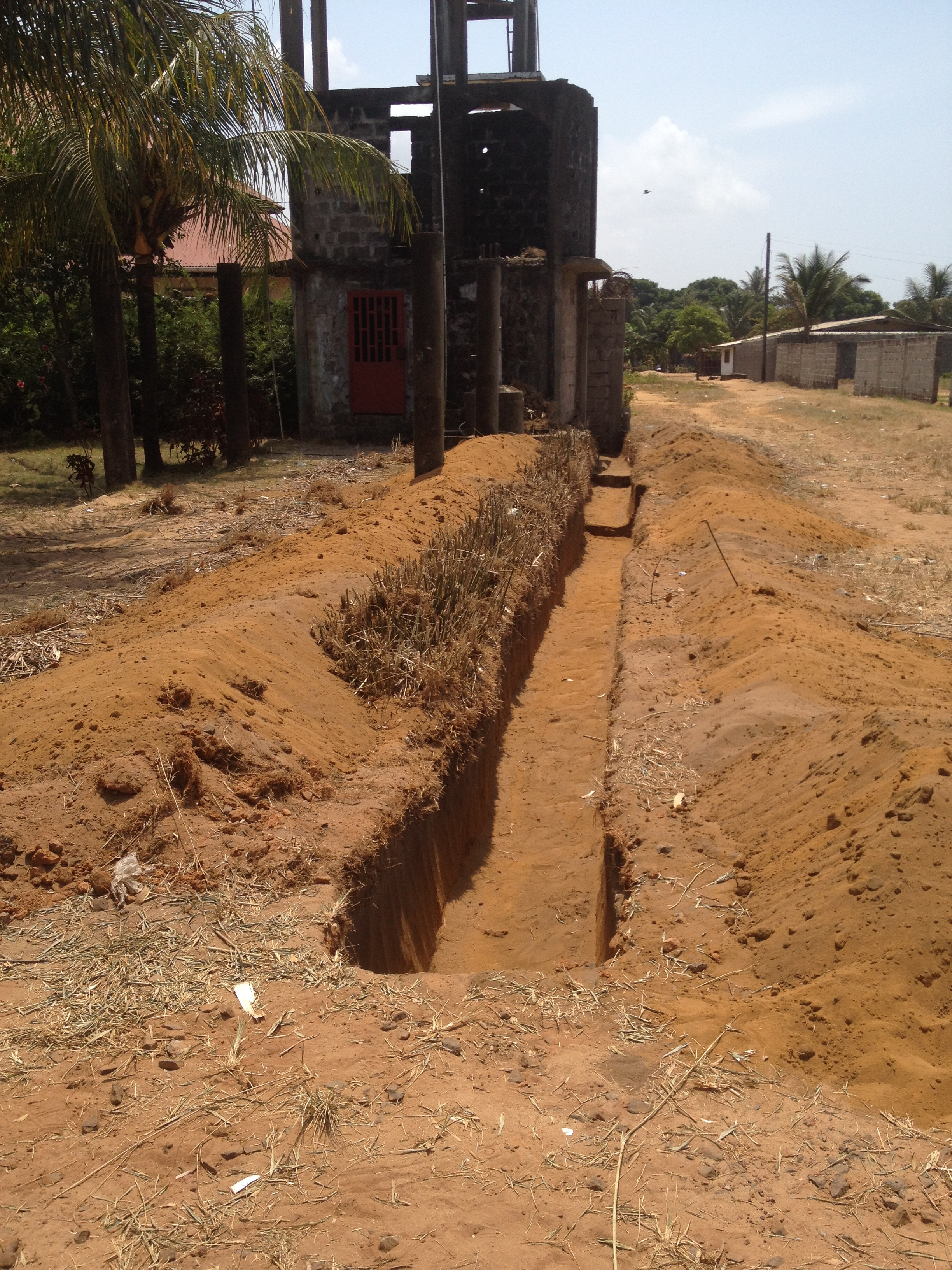 The front fence trench.