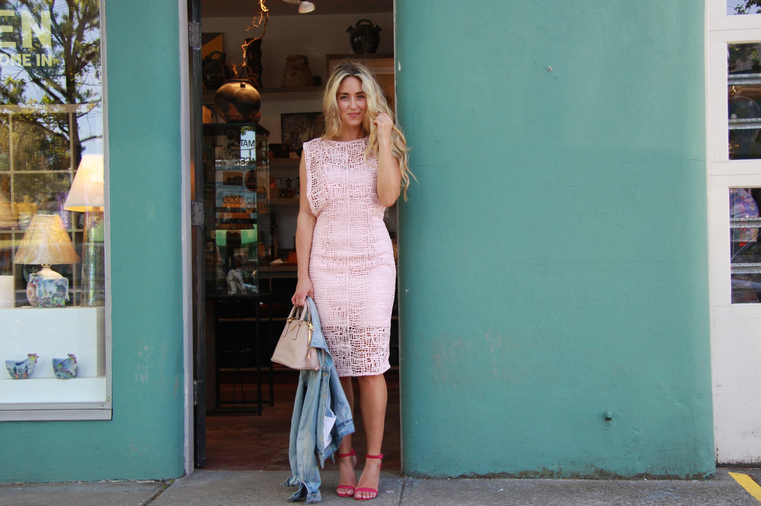 Wearing  ELLE by RW&Co  WhiteDress  &  Pink Dress  Shoemint Pumps & Sandals,  Chloé  Bag,  Prada  Bag, Aritzia Jacket