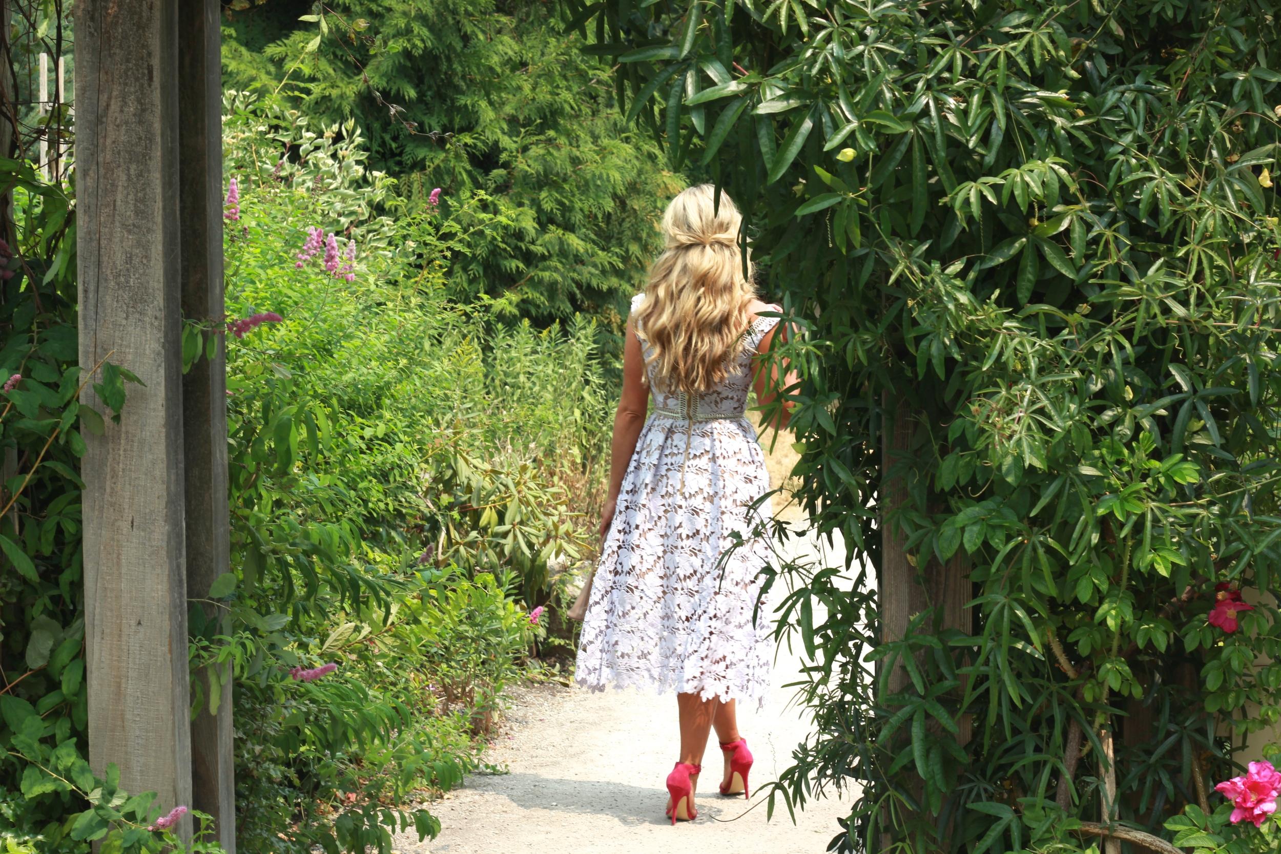 Self Portrait   Dress (so pretty  in red  too!)Prada Bag, Shoemint Heels