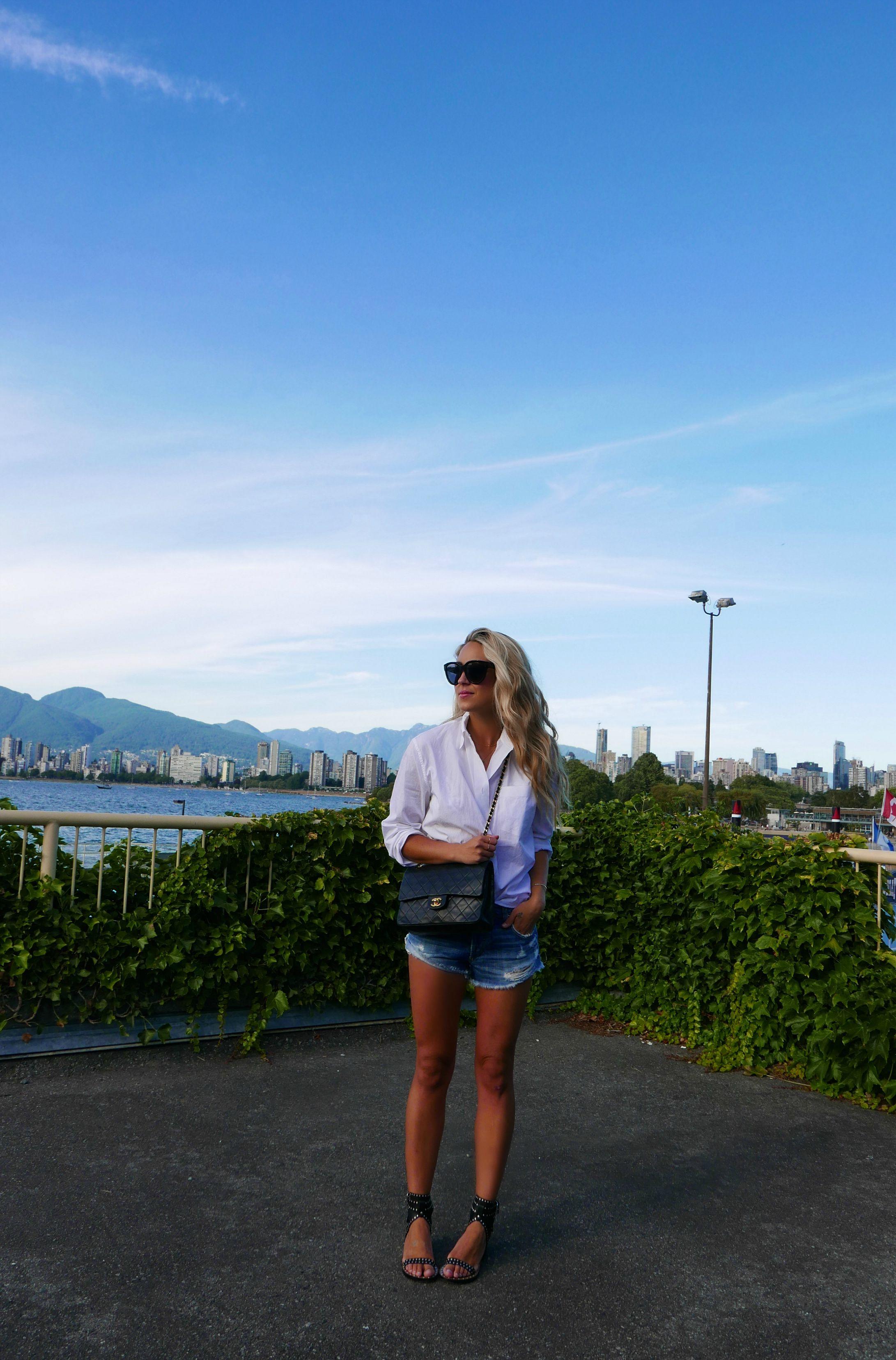 Acne  Shirt,  Joe'sJean  Shorts, Chanel Bag via  Rice and Beans Vintage ,  Isabel Marant  Sandals