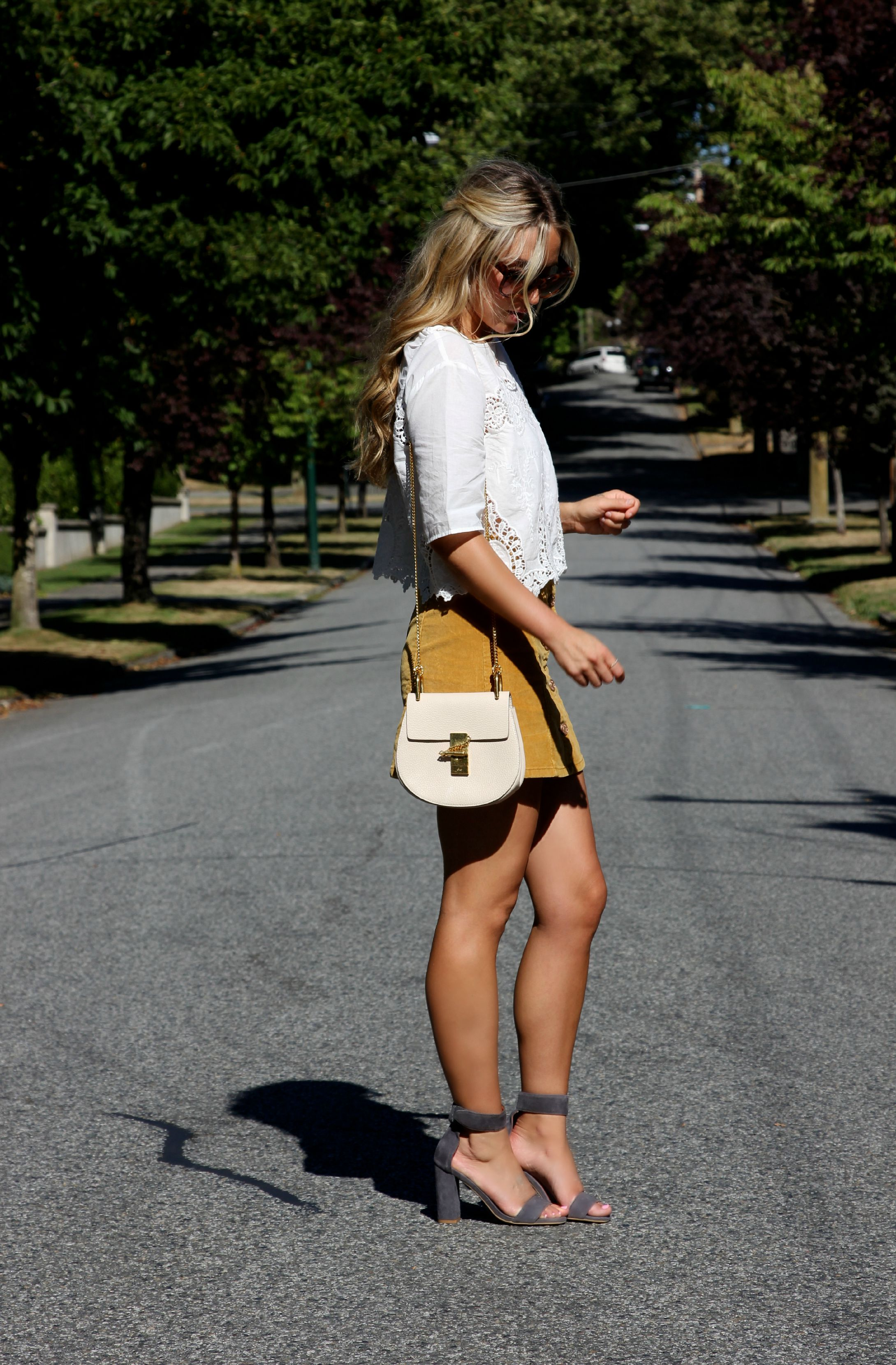 Top ,  Skirt  &  Shoes  via  Urban Outfitters ,  Chloé  Bag,  Céline  Shades,  Effy  Necklace
