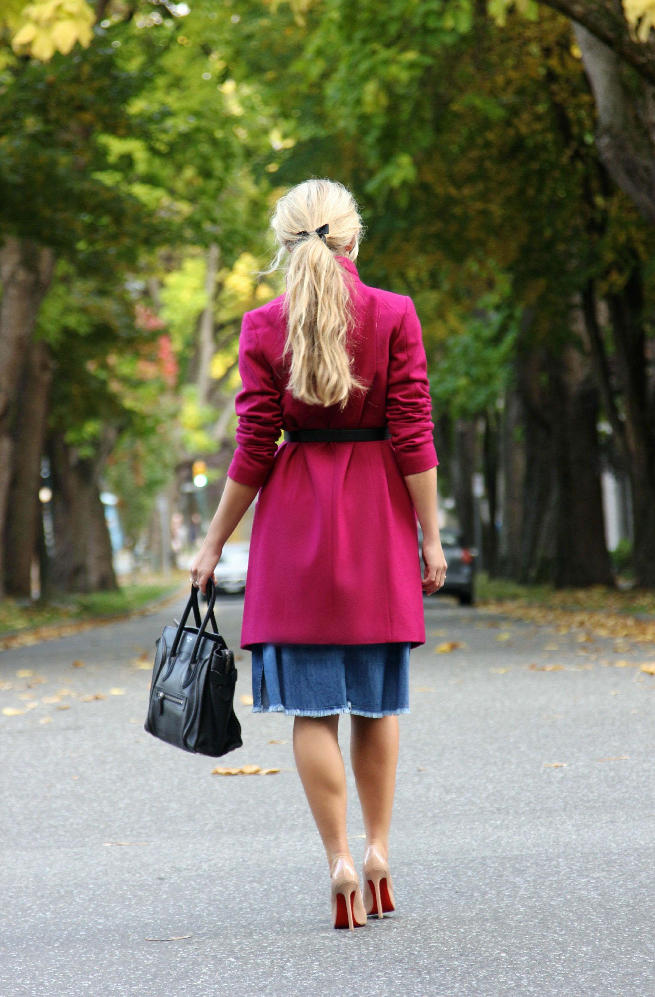 RW&Co  Coat, Céline Bag &  Shades ,  Chanel  Belt,  Christian Louboutin  Pumps