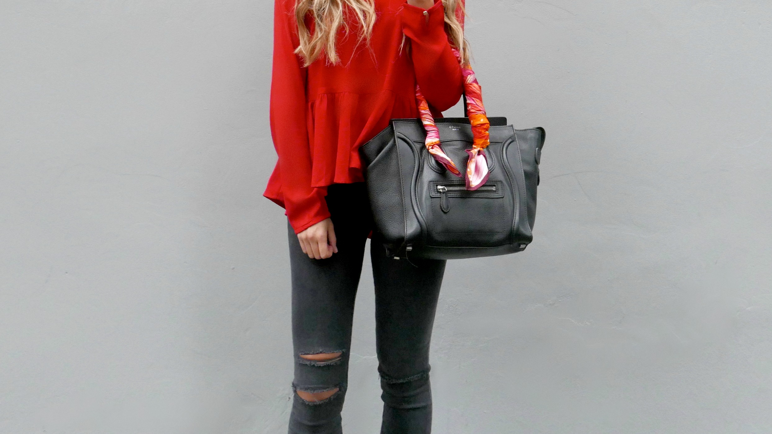 Jillian Harris for Priviledge Top ,  Tommy Hilfiger  Jacket,  J.Brand  Jeans,  Céline  Bag, Hermes Scarf via  Rice and Beans Vintage ,  Nine West  Heels