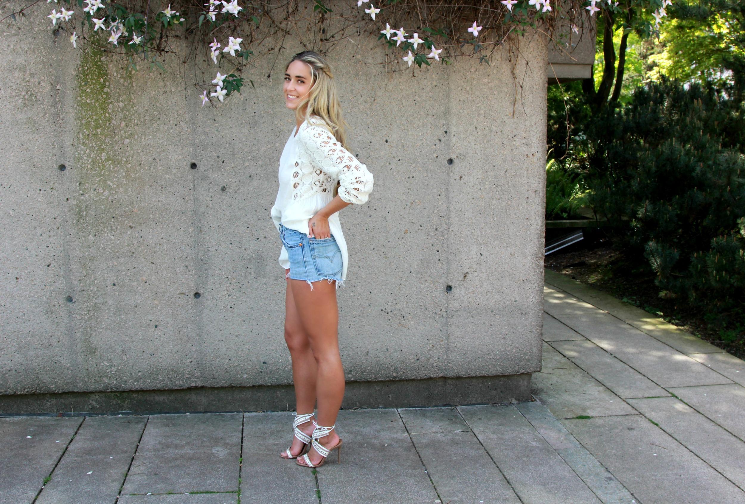 Aquazzura  Sandals via  The September   Ruby  Dress,  d.RA   Top  &  Skirt ,  Chloé  Bag,  Wish  Top, Levi's Shorts