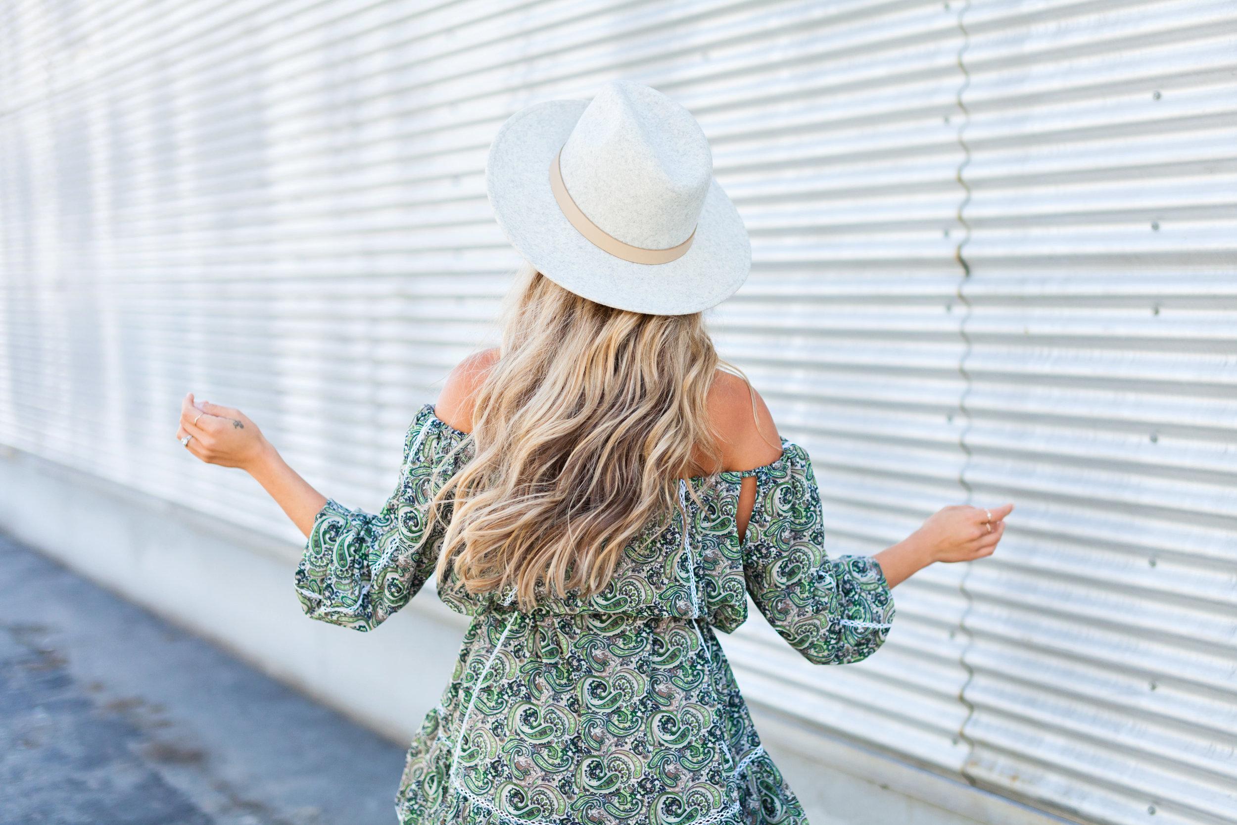 Photography by Allison Kuhl  MLM  Dress,  Lack of Color  Hat, Céline Sandals & Shades,Chloé Bag