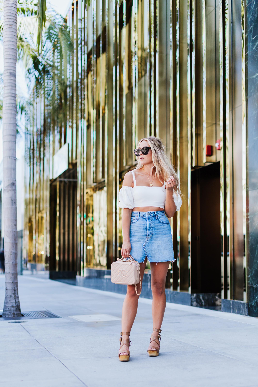 Photos by  Allison Kuhl   LPA  Top & Grlfrnd  Skirt via  Revolve , Ash Shoes, Chanel Bag,  Cinco  Necklace