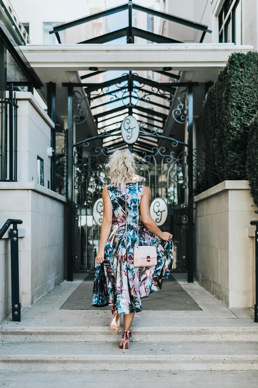 Ted Baker   Dress ,  Heels  &  Bag . -  #CJxMA Melanie Auld Earrings   Photos by  Allison Kuhl