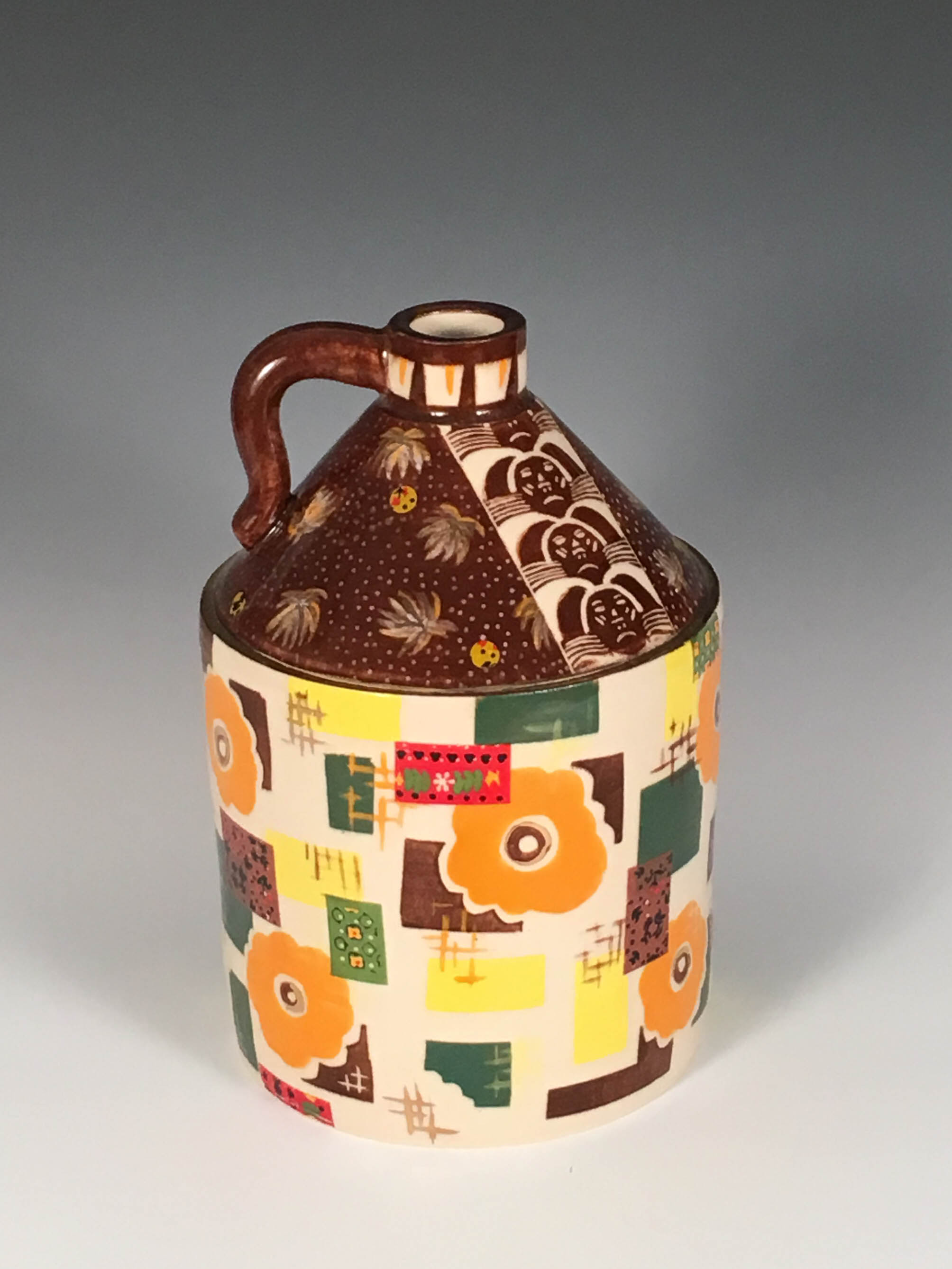 Orange and Rust Vintage Textile Whiskey Jug