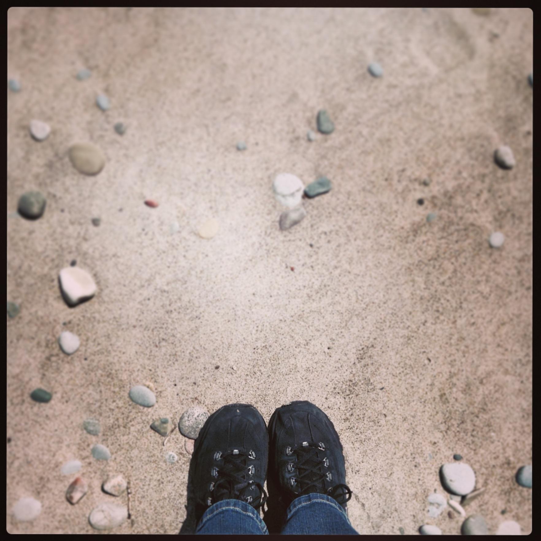 My feet and sand on Toronto Island.