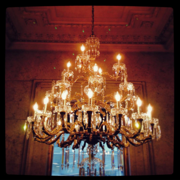 Chandelier in hotel lobby, TO. 2015