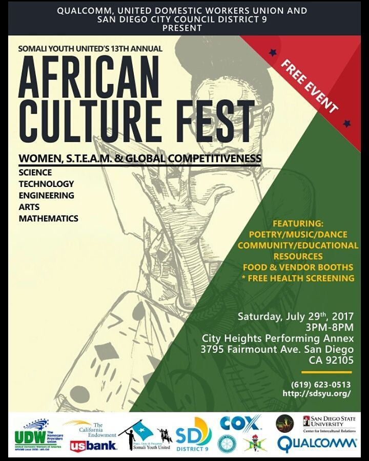 The 13th Annual African Culture Festival - Malesha produced and managed the festival musical selections and booked artists for this year's annual festival. The theme was Women, STEAM and Global Competitiveness! A beautiful family, friendly event!