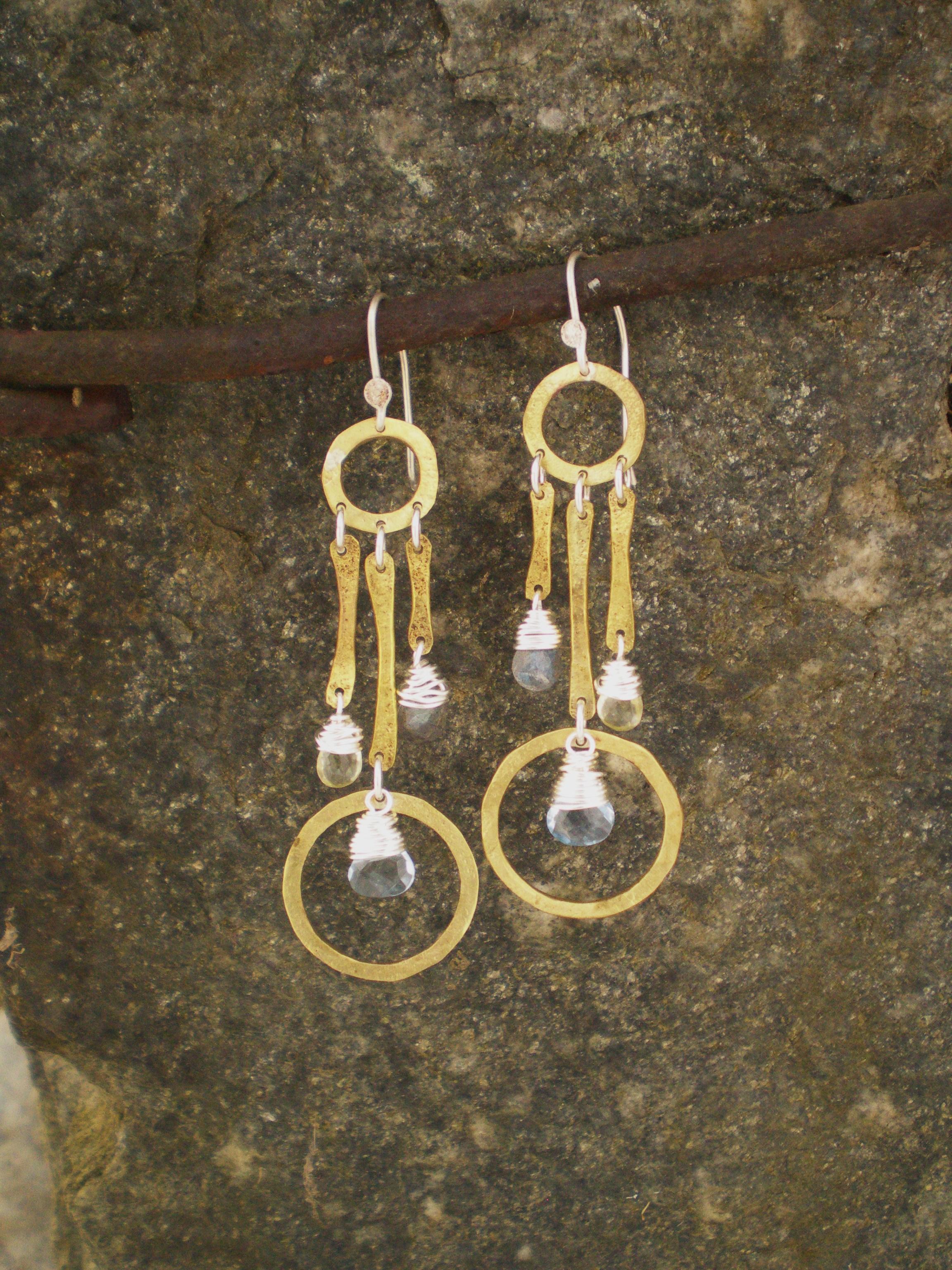 Dreamcatcher Earring  : Brass 'bones' with sterling silver accents. Labradorite, citrine & blue crystal gemstones.