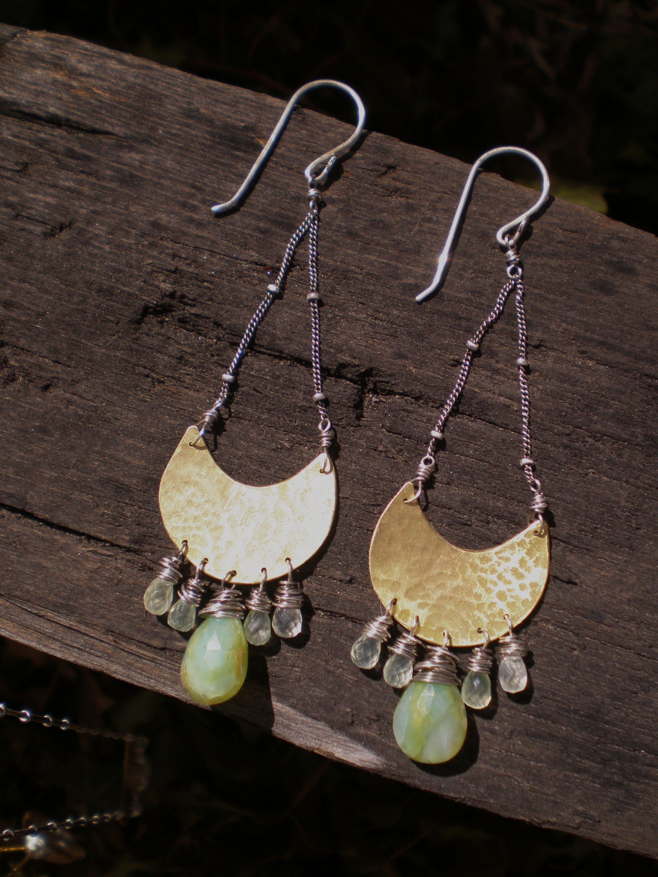 Gypsy Earring  : Hammered brass sheild, sterling silver accents, Peruvian opal & prenite crystals.