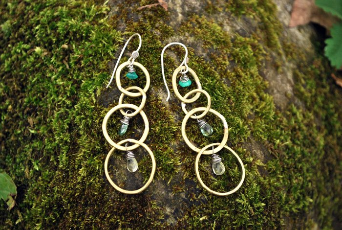 Concentric Circles Earring  : Brass hoops, sterling silver accents, chrysoprase, peridot & lemon quartz gemstones.