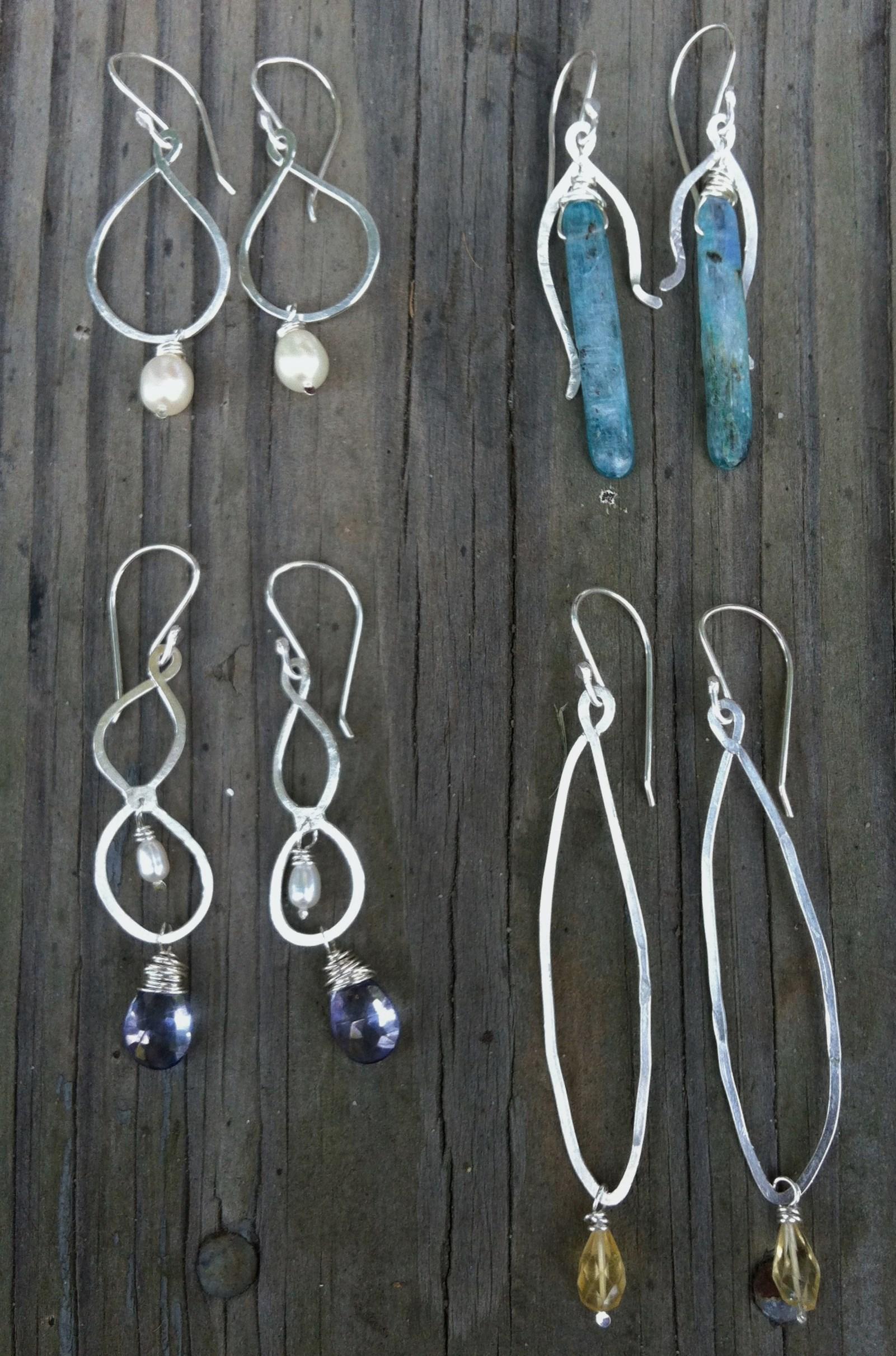 Four Seasons Earrings  : Sterling silver, pearls & gemstones.