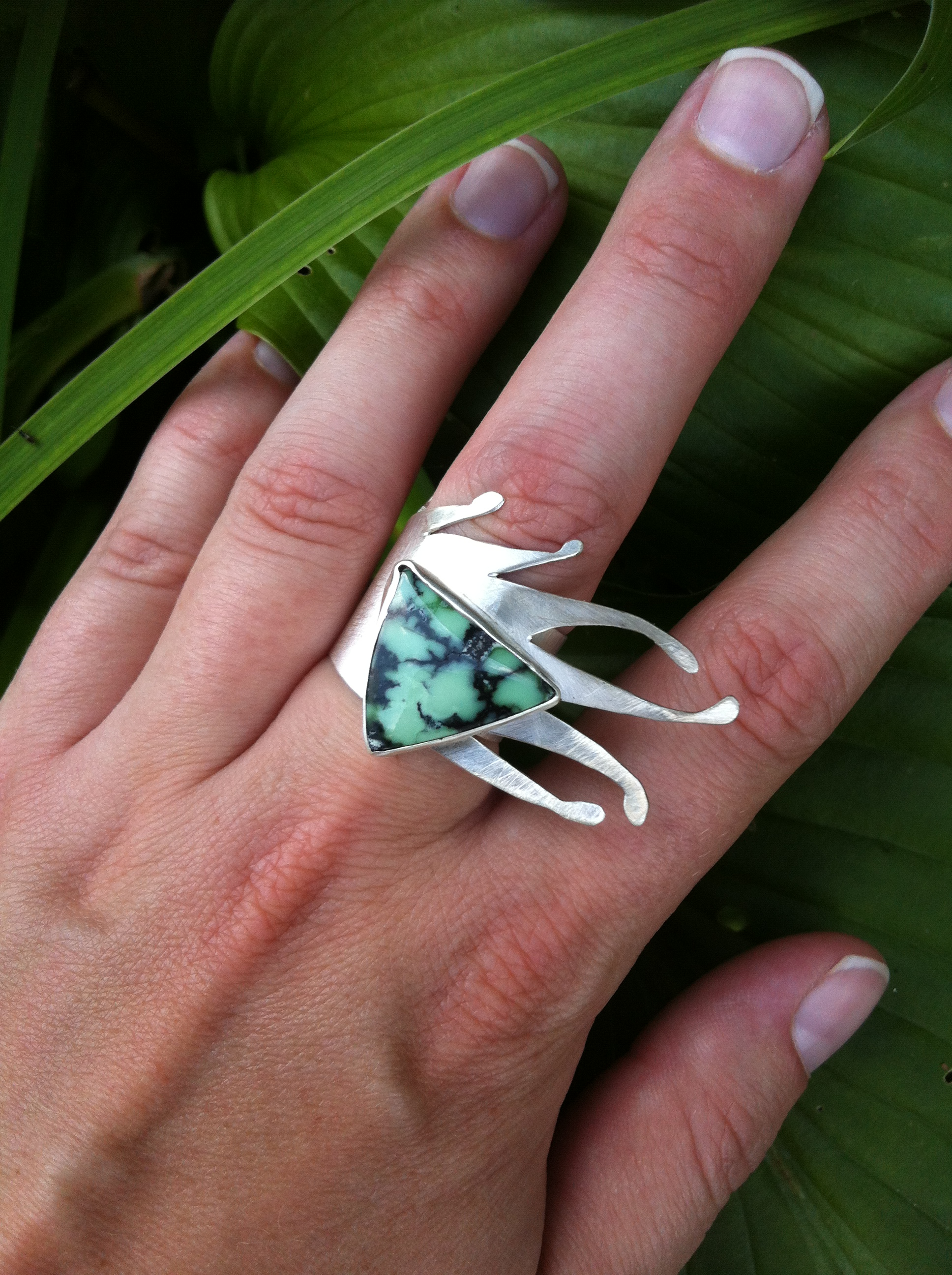 Billowing Varascite Ring  : This is the epitome of my style. Big stones, intricately sawed silver & style for DAYS!