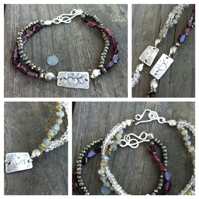 Beads on Silk Bracele  t: These look amazing standing alone or in a grouping. And not only do they look good, they also FEEL good. The beads are strung on supple silk, which hugs wrists & is never stiff!You can help create your own sterling silver charm, pick 2 different types of stones!