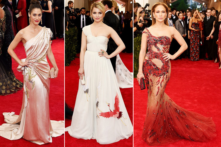 Lizzy Caplan in Donna Karan Dianna Agron in Tory Burch Jennifer Lopez in Versace