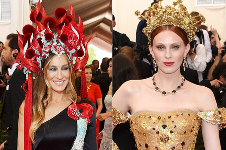 Sarah Jessica Parker in Philip Tracey hat & H&M dress Karen Elson in Dolce & Gabbana
