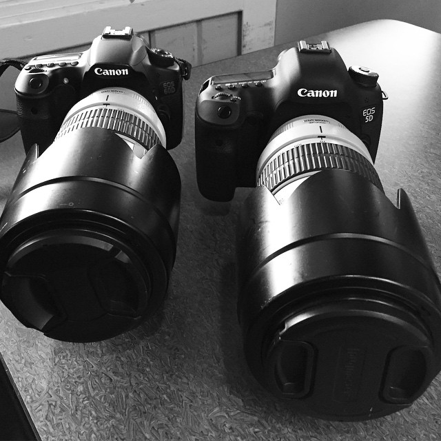 Canon 60d and 5d with 70-200mm lenses.