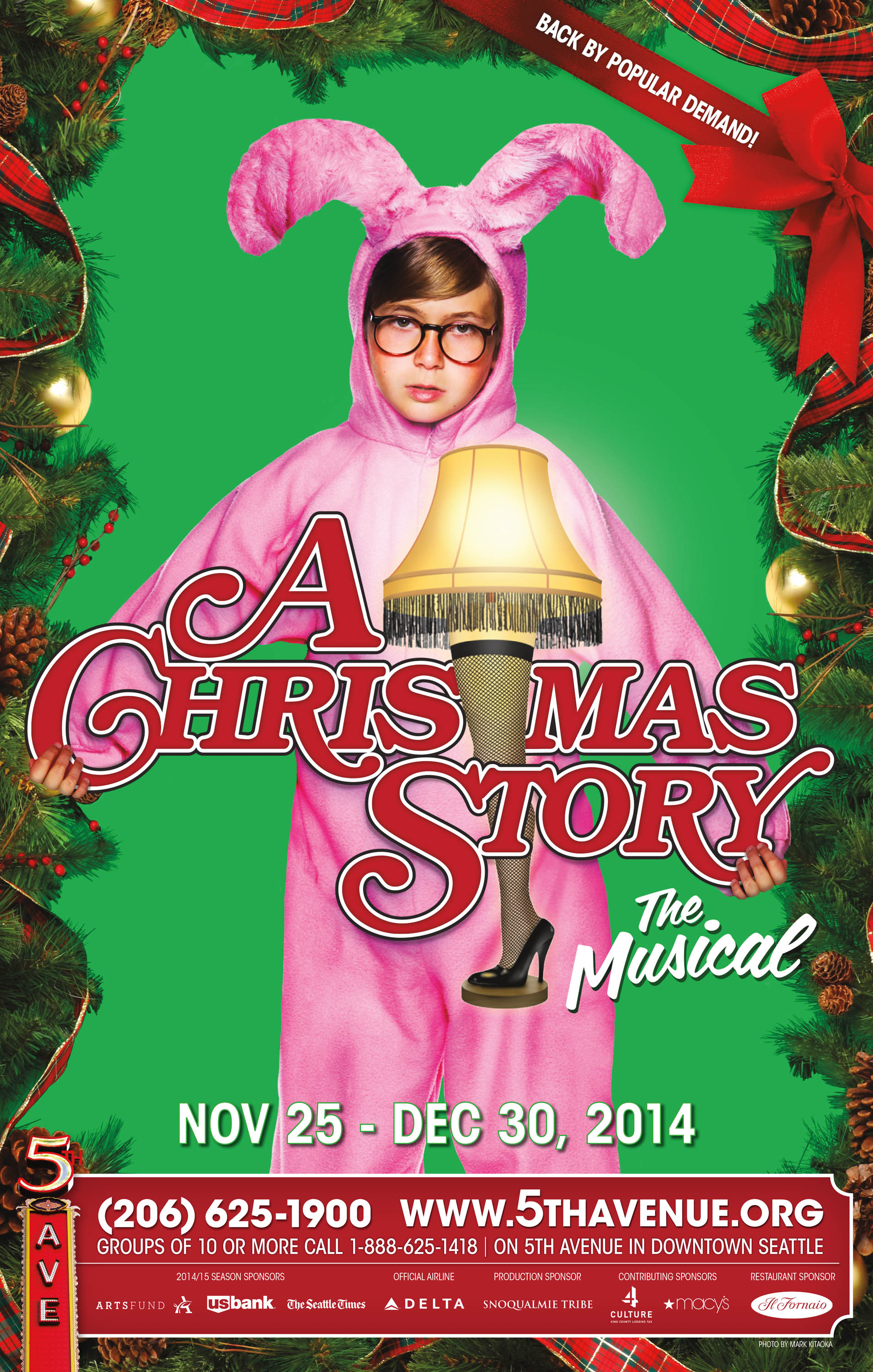 """A Christmas Story  Show Poster - 14"""" x 22"""" Photo by Mark Kitaoka -  The 5th Avenue Theatre , Seattle  October, 2014"""
