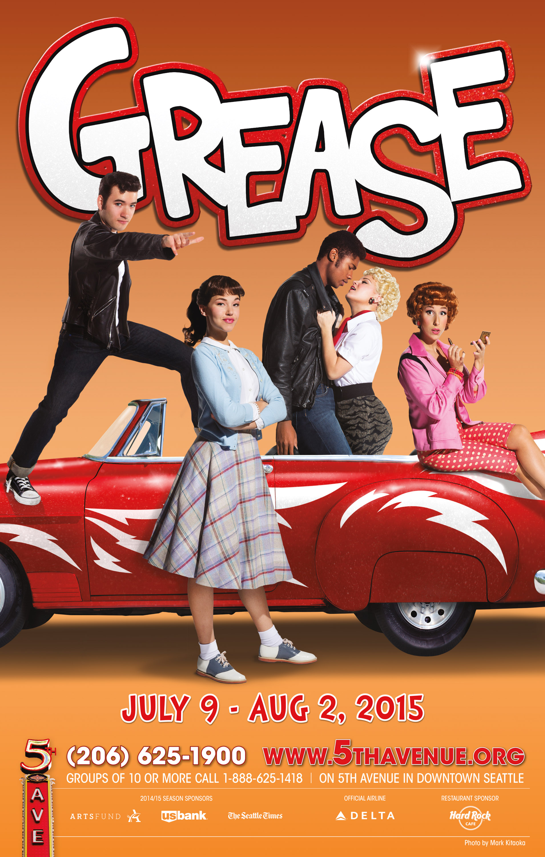 """Grease   Show Poster - 14"""" x 22""""   Photos by Mark Kitaoka  -   The 5th Avenue Theatre , Seattle,  May, 2015    Title Treatment by Carmel Dunn"""