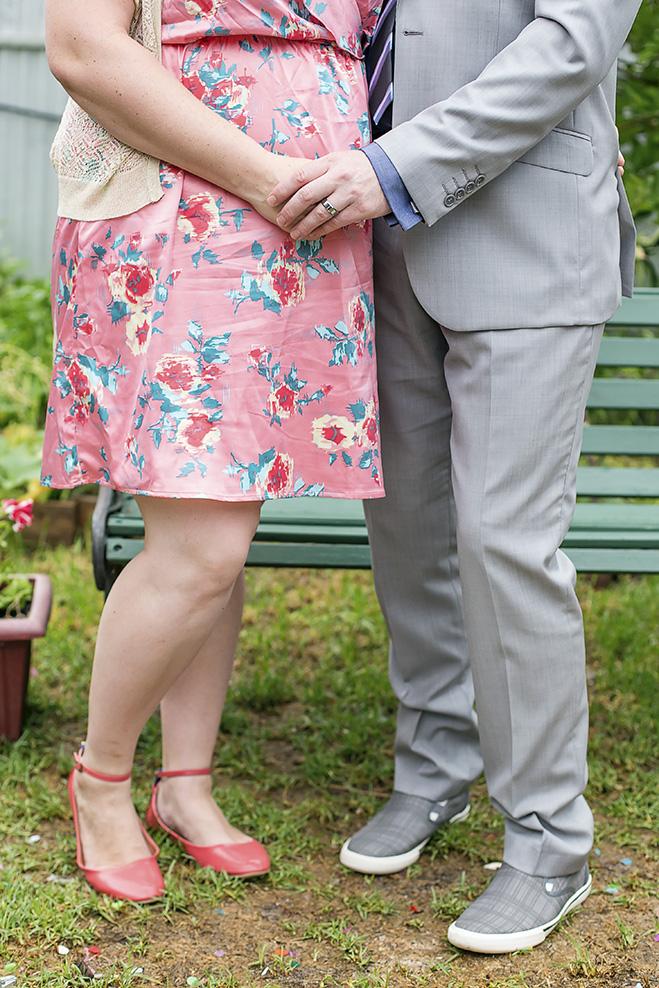 valentines day small backyard wedding holding hands portrait
