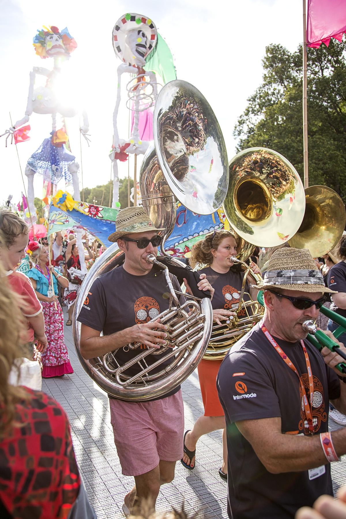 womadelaide festival parade trumbones