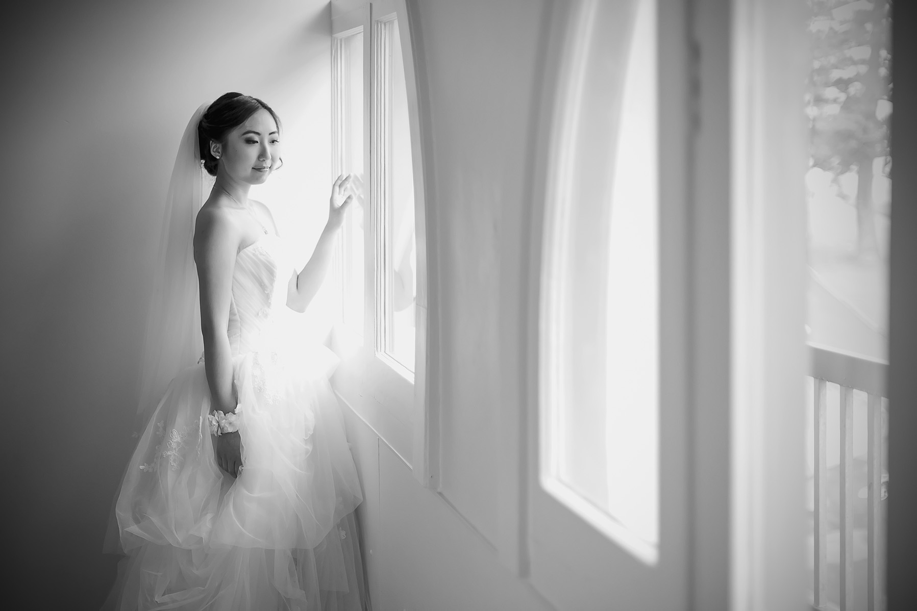 Black and White Film Style Bridal Preparation photo by Window 7
